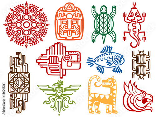 Colorful Ancient Mexican Vector Mythology Symbols American Aztec