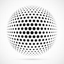 White 3D Vector Halftone Spher...