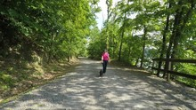 Senior Adult Woman Walking A D...