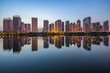 urban skyline and modern buildings at night, cityscape of China.