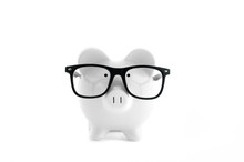 White Piggy Bank Isolated On W...