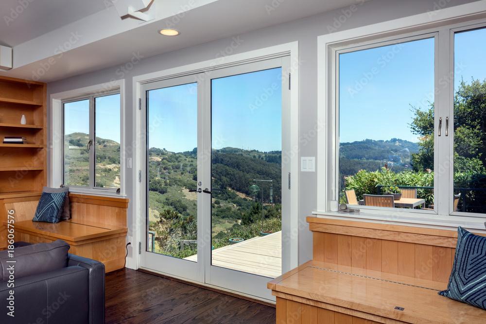 Fototapeta Panorama House Home with double aluminum doors and windows.