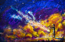 Oil Painting - Man With A Lantern Lights, Clouds, Abstraction, Starry Sky, Universe