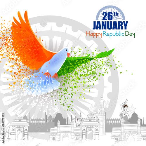 Fotografia Monument and Landmark of India on Indian Republic Day celebration background