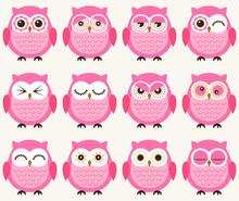 Seamless Cute Cartoon Owls Pat...