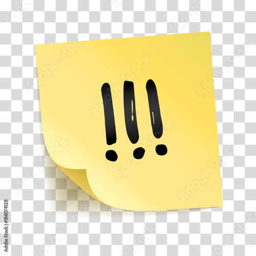 Fotografie, Obraz  Note yellow sticker three exclamation point