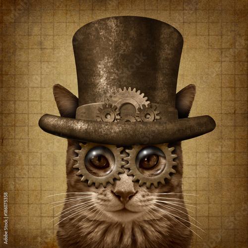 Fotografie, Obraz  Steampunk Grunge Cat