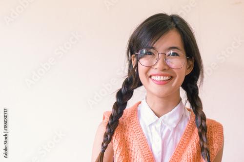 Fotografia, Obraz  Head shot of happy smile asian student with piftial