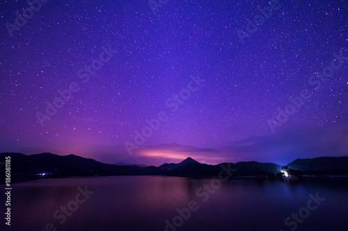 Montage in der Fensternische Violett Mountain, river, The stars in the night sky