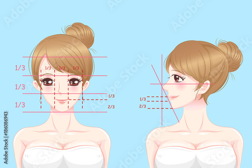 woman with perfect face proportions Fotobehang