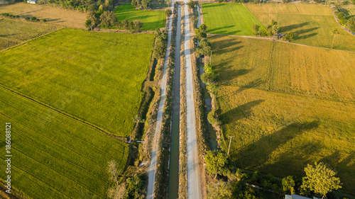 Spoed Foto op Canvas Kanaal Aerial view from drone flight Irrigation canal