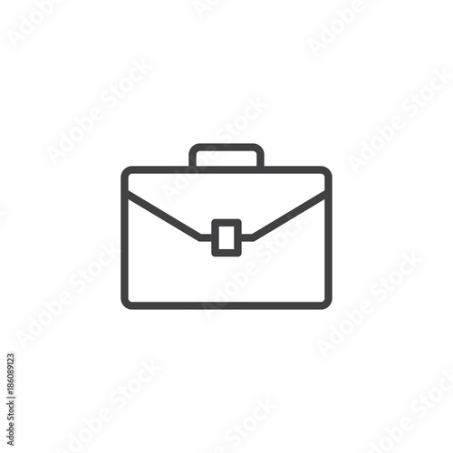Fotomural  Briefcase line icon, outline vector sign, linear style pictogram isolated on white