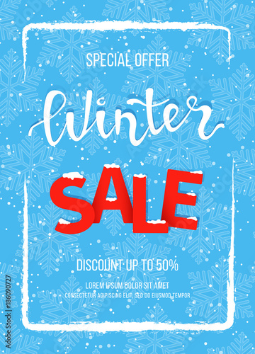 Winter Banner Poster Flyer Template In The Frame Of Snow On Blue Snowflakes Background Special Seasonal Offer Hand Lettering Inscription
