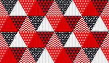 Concept Patchwork Xmas Design For Header, Banner, Card, Poster, Invitation. Seamless Winter Christmas Geometry Pattern.