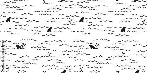fototapeta na lodówkę Shark dolphin Seamless pattern vector whale Sea Ocean doodle isolated wallpaper background White