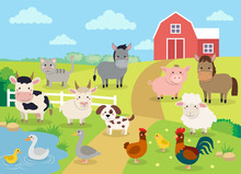 Farm Animals With Landscape - ...