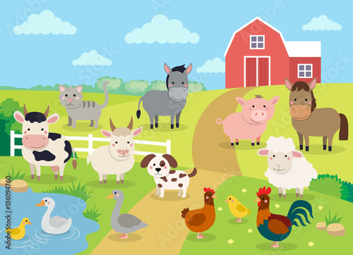 Fototapeta Farm animals with landscape - cow, pig, sheep, horse, rooster, chicken, donkey, hen, goose, duck, goat, cat, dog. Cute cartoon vector illustration in flat style obraz