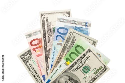 Fototapeta Dollar and Euro Bills obraz
