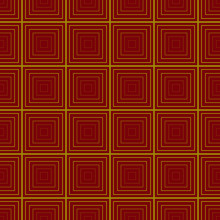 Square Yellow On Dark Red Back...