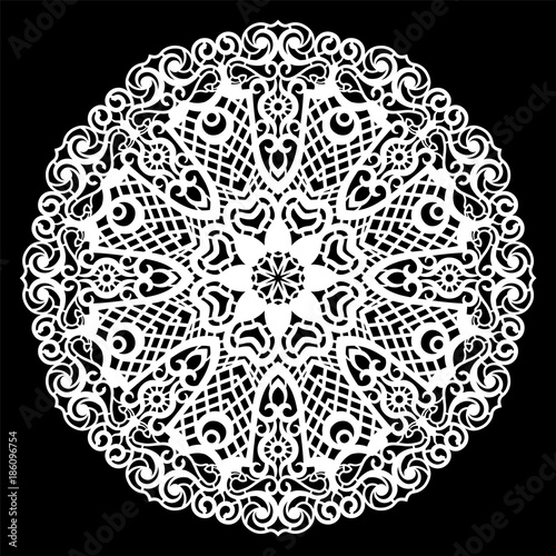 Fotografia, Obraz  Lace round paper doily, lacy snowflake, greeting element, laser cut  template, doily to decorate the cake,  vector illustrations