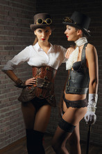 Portrait Of Steampunk Girls In...