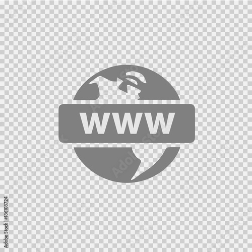 Obraz Earth with www text. Vector icon eps 10. Web globe sign. - fototapety do salonu