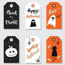 Set Of Halloween Gift Tags. Ve...