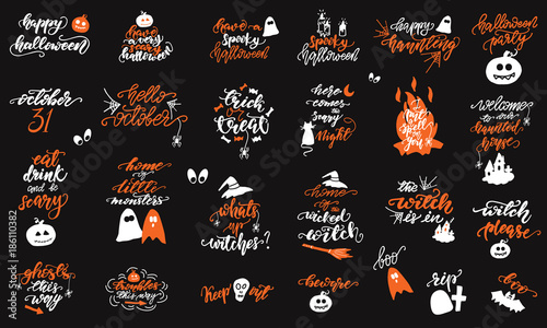 Valokuvatapetti Set of Halloween lettering designs. Vector illustration.