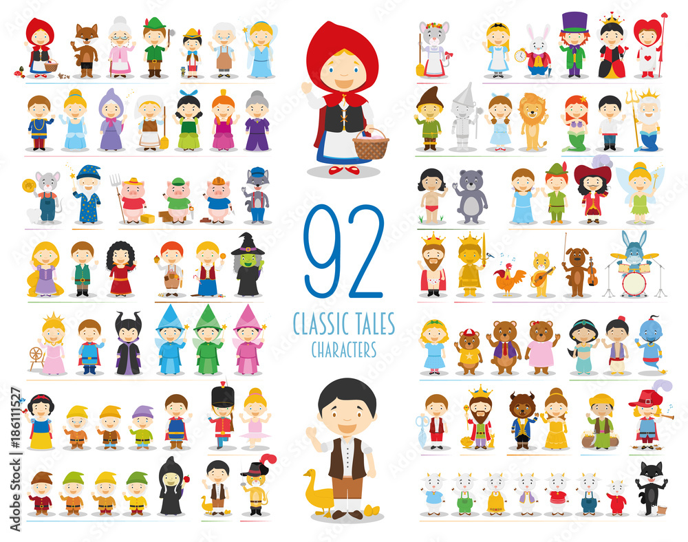 Fototapeta Kids Vector Characters Collection: Set of 92 Classic Tales Characters in cartoon style
