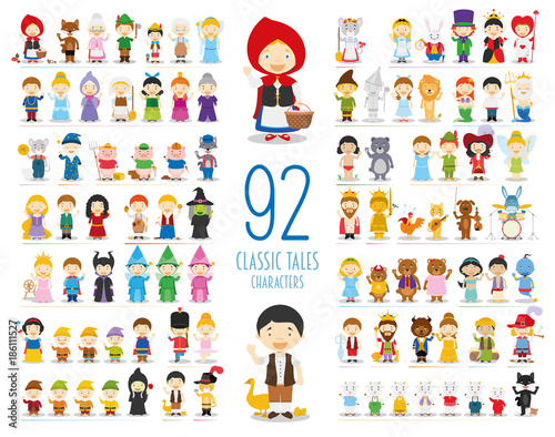 Poster  Kids Vector Characters Collection: Set of 92 Classic Tales Characters in cartoon