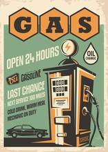 Gas Station Retro Poster Desig...