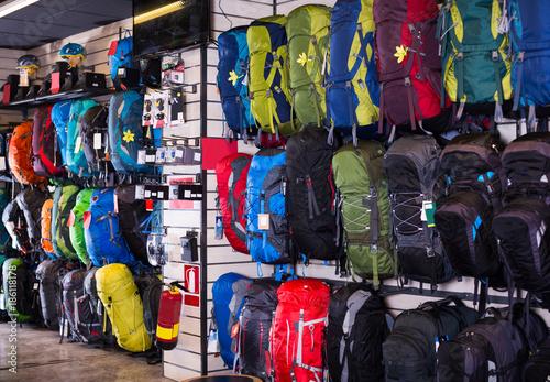 hiking backpacks in sports shop