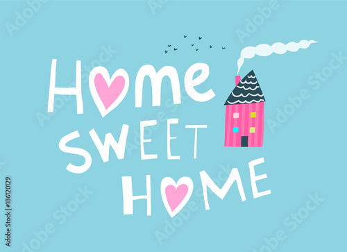 Hand drawn sign home with house chimney and smoke Canvas Print