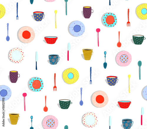 jednolite-wzor-naczynia-i-jedzenie-projektu-ilustracji-wektorowych