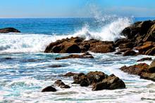 Waves Breaking On A Rocky Shore