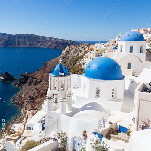Recess Fitting Santorini Cityscape of Oia, traditional greek village with blue domes of churches, Santorini island, Greece.