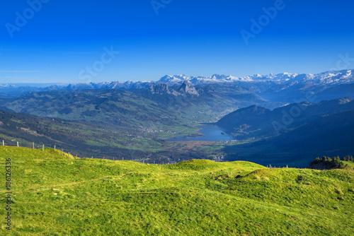 Foto auf Gartenposter Hugel Panorama view from Rigi Mountains at lake Lucern and Village Brunnen. View from Rigi Switzerland