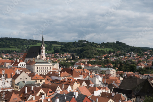 Fotografie, Obraz  View of the charming medieval town, Cesky Krumlov, from the castle