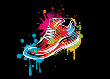 Ein Buntes Sneaker Graffiti Auf Schwarzen Hintergrund