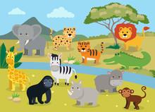 Wild Animals With Landscape - ...