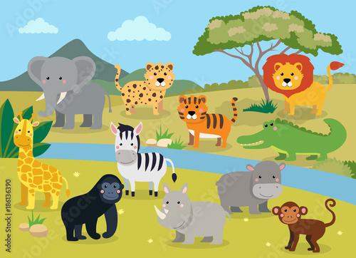 dzikie-zwierzeta-z-krajobrazem-sliczna-kreskowka