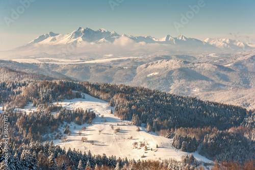 Fototapeta Zima w Beskidzie Sądeckim ,szlak turystyczny z Jaworzyny Krynickiej do Bacówki nad Wierchomlą obraz