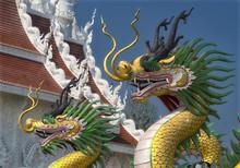 Dragon Statues At Wat Huai Pla Kung Chiang Rai Thailand