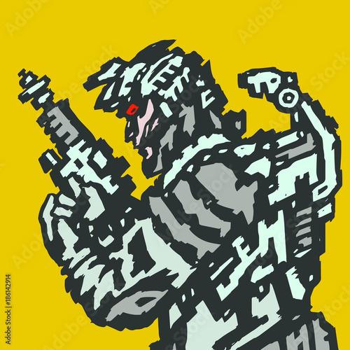 Spaceman in helmet with blaster in hands. Vector illustration. Wallpaper Mural