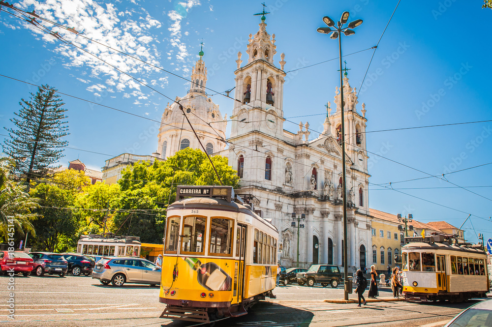 Fototapety, obrazy: Yellow tram 28 on streets of Lisbon, Portugal