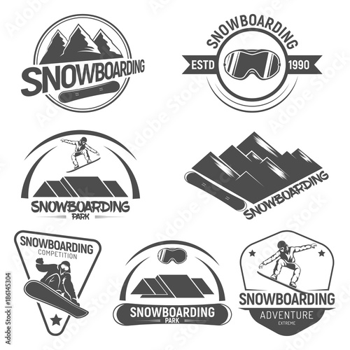 5166ee9471e6 Collection of Snowboarding logos. emblems and symbols in retro style ...