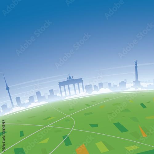 Poster Gris Berlin Skyline Aerial View