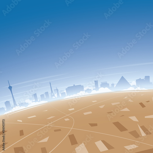 Poster Corail Las Vegas Skyline Aerial View