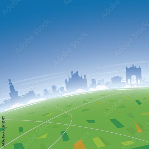 Poster Gris Milan Skyline Aerial View