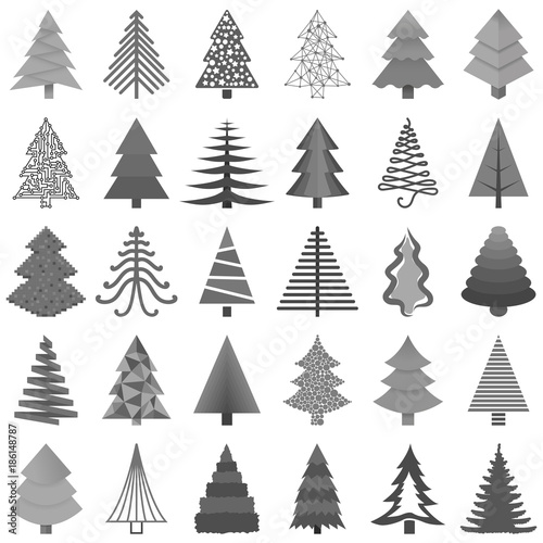 Set of black and white Christmas trees painted in different styles isolated on white background.